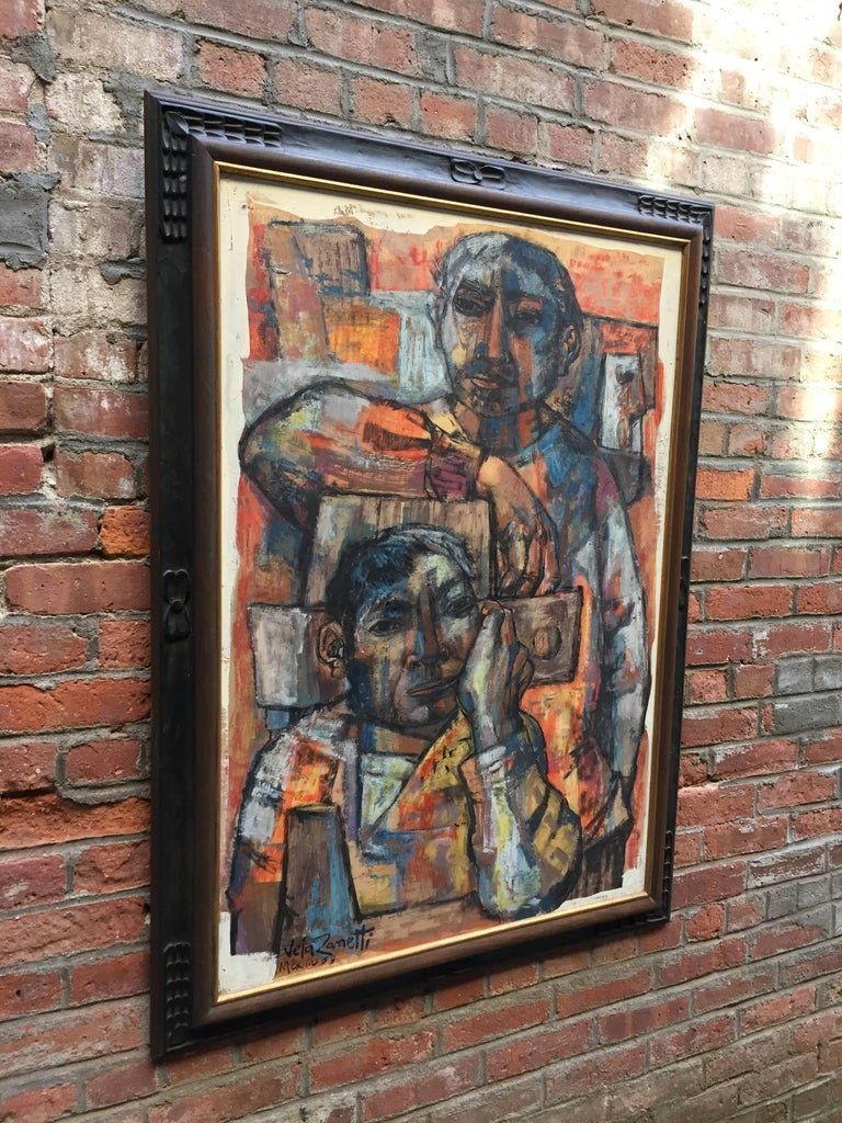 Jose Vela Zanetti Painting Of Two Mexican Figures At 1stdibs