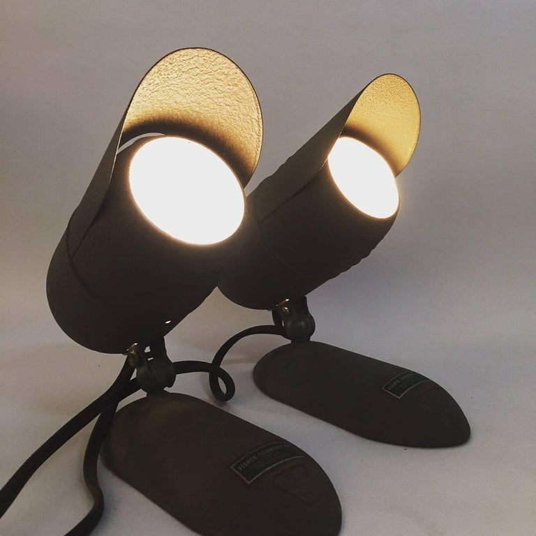 Powder-Coated Pair of Machine Age Fisher Scientific Laboratory Lamps For Sale