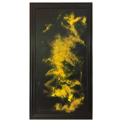 Black and Yellow Abstract Expressionist Painting by Suzanne Clune