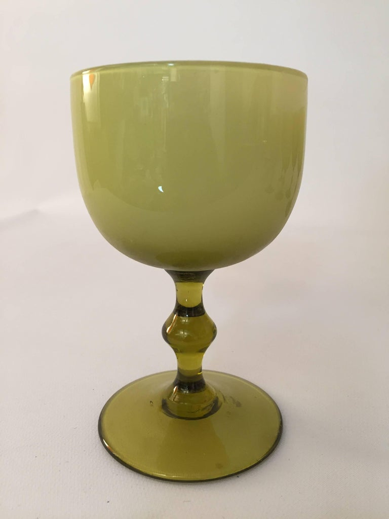 Mid-Century Modern Six Carlo Moretti Cased Glass Stemware Wine Goblets For Sale