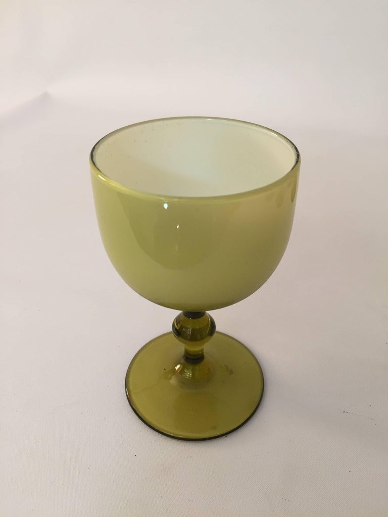 Italian Six Carlo Moretti Cased Glass Stemware Wine Goblets For Sale