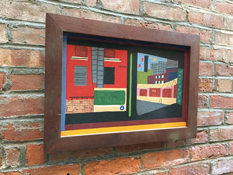 Colorful oil paint on academy board depicting a peep hole composition of a factory/street scene. Unsigned, but influenced in the manner of the great American Social Realist, Stuart Davis.   Solid Mahogany frame. The overall dimensions are 21.5