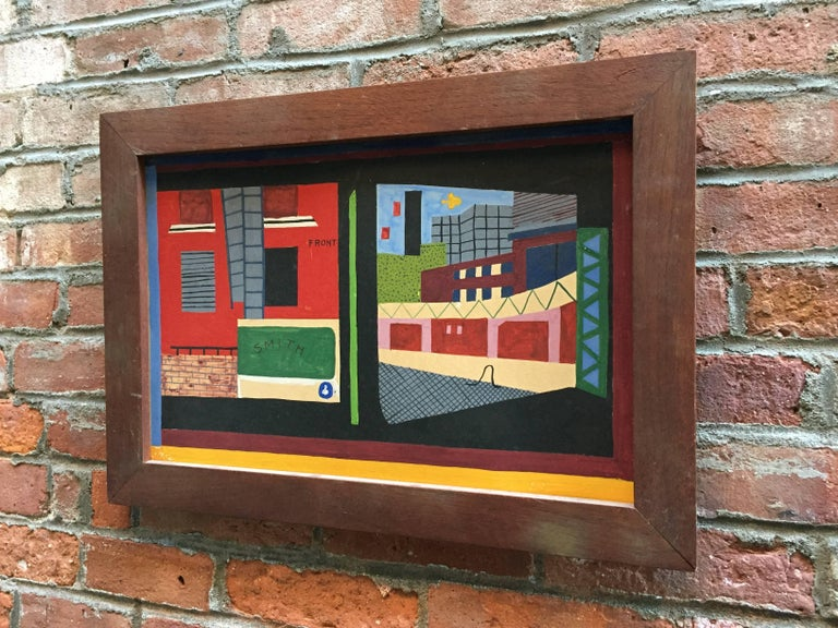 American Realist Proto Pop Industrial Painting in the Style of Stuart Davis In Good Condition For Sale In Garnerville, NY