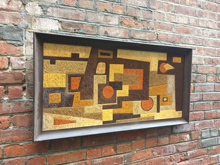 One of several pieces offered by the artist who signed their work, RKM. Purchased from a beautiful modern home in Briarcliff Manor, NY. The painstaking paint build up and careful hard edge rendering denotes an accomplished, trained hand. The medium
