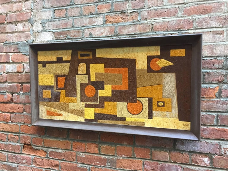 Mid-Century Modern 1950s Abstract Painting RKM For Sale