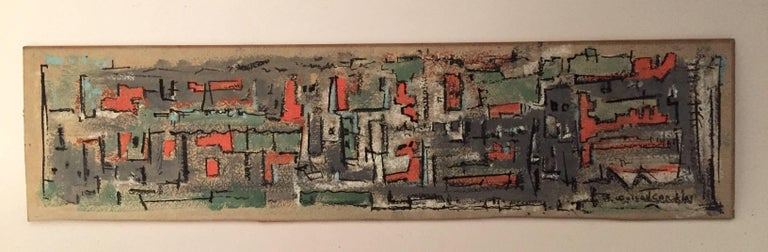 Signed lower right, B. Wolcott Cary, '61. Very nice abstracted panoramic cityscape mixed media. Cary primarily painted in Massachusetts, so this is possibly an old factory town like New Bedford. Gouache or watercolor on academy board. Very good,
