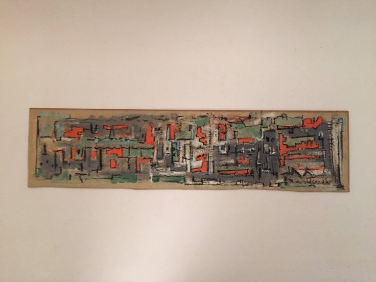 Bud Wolcott Cary 1961 Panoramic Cityscape Painting In Good Condition For Sale In Garnerville, NY