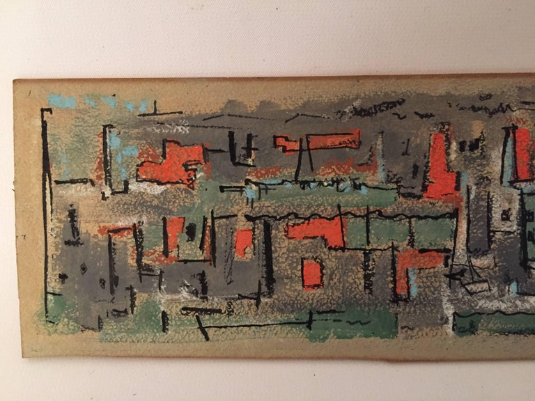 Mid-20th Century Bud Wolcott Cary 1961 Panoramic Cityscape Painting For Sale
