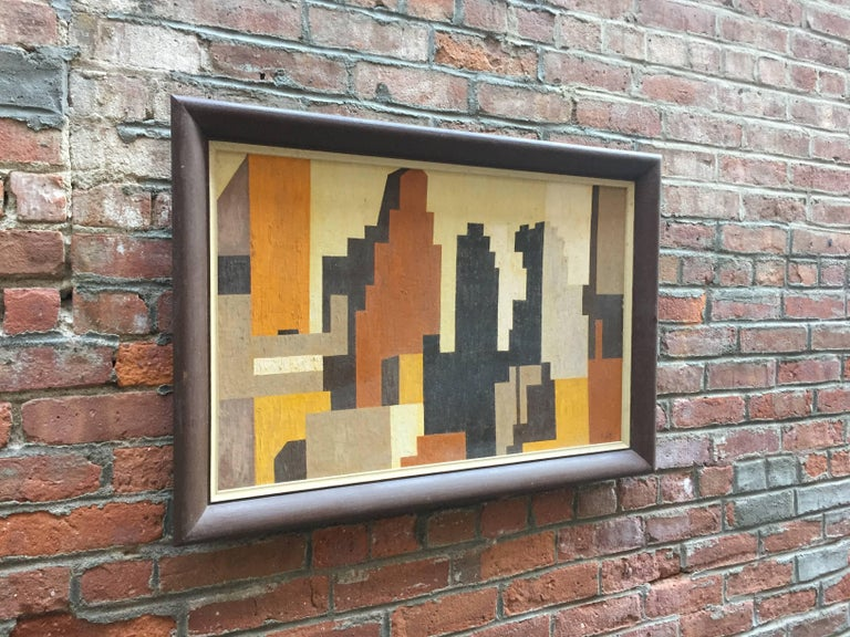 Mid-Century Modern 1950s Geometric Cityscape RKM For Sale