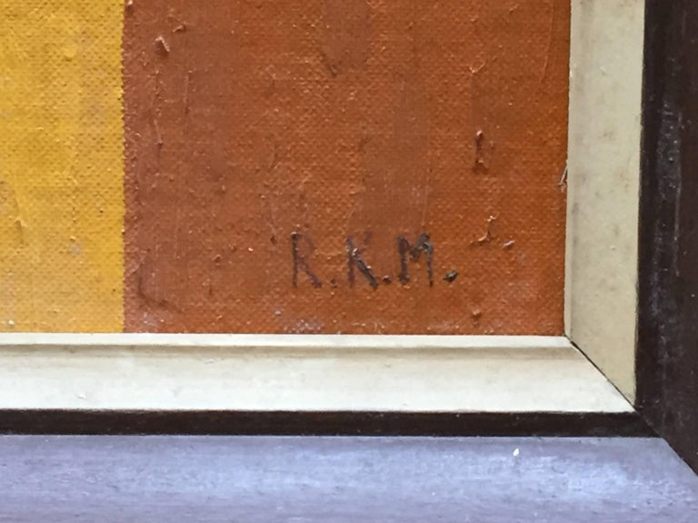 1950s Geometric Cityscape RKM In Good Condition For Sale In Garnerville, NY