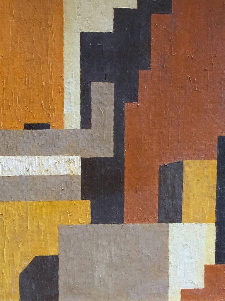 Canvas 1950s Geometric Cityscape RKM For Sale