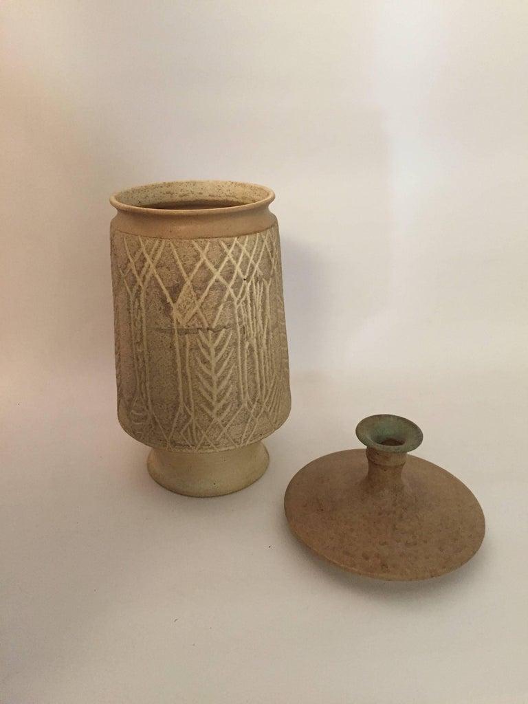 Mid-Century Modern 1970s John Masson Studio Pottery Wheat Vessel For Sale