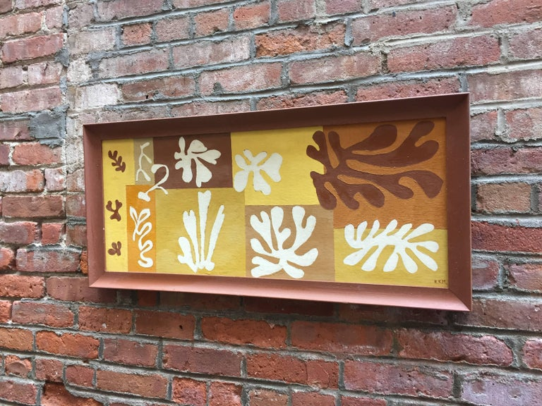 Mid-Century Modern 1950s Matisse Inspired Leaf Painting For Sale