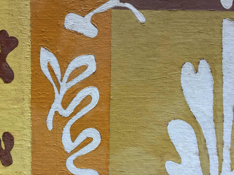 Hand-Painted 1950s Matisse Inspired Leaf Painting For Sale