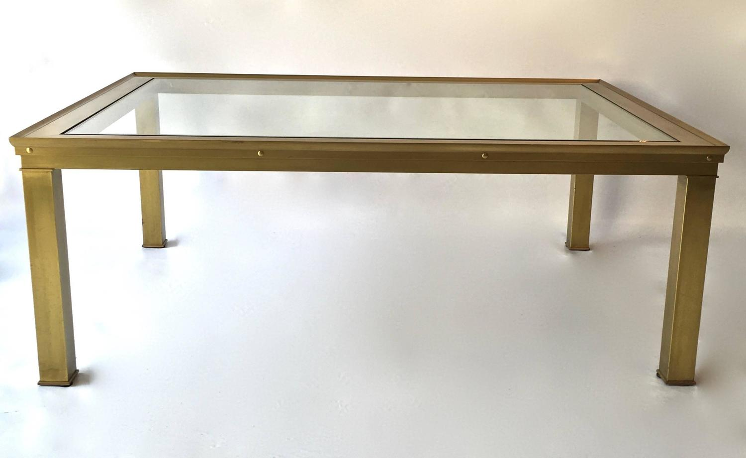 Mastercraft Solid Brass And Glass Top Coffee Table With Greek Key Inset At 1stdibs