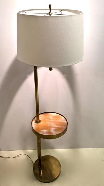 Mid Century Brass Floor Lamp With Swivel Cerused Wood