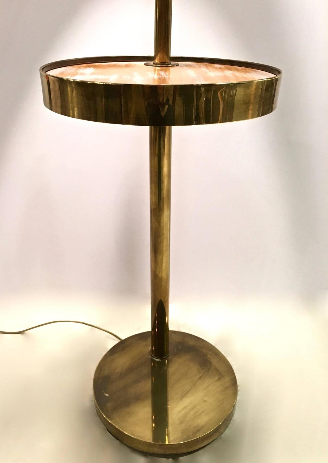 mid century brass floor lamp with swivel cerused wood