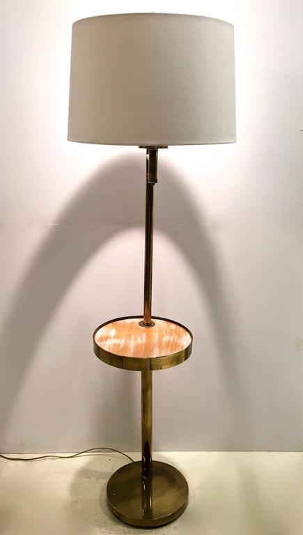 mid century brass floor lamp with swivel cerused wood tray table at 1stdibs. Black Bedroom Furniture Sets. Home Design Ideas