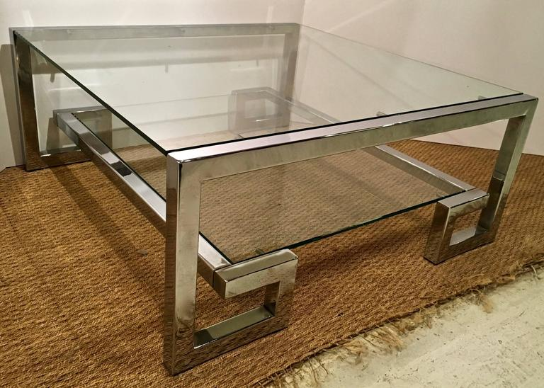 Chrome And Glass Greek Key Coffee Table Manner Of Milo Baughman 3