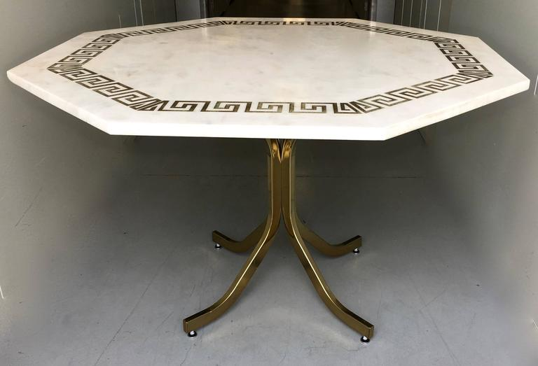 Marble Octagonal Dining Or Center Table Etched Greek Key