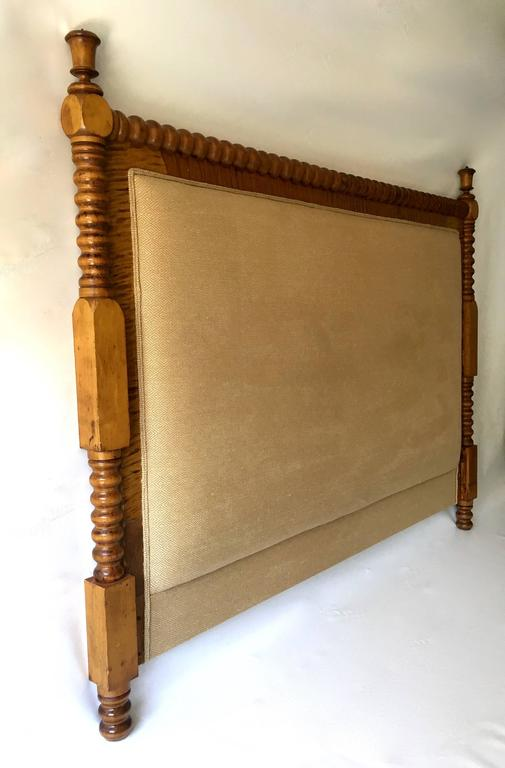 Queen Headboard Turned Wooden Legs Custom Upholstered At