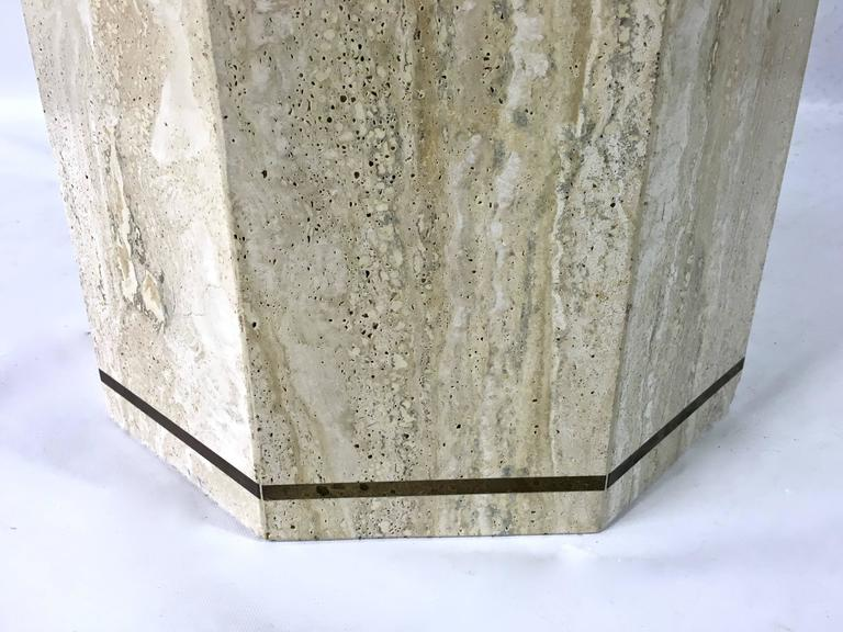 Travertine Marble Octagonal Center Or Dining Table With