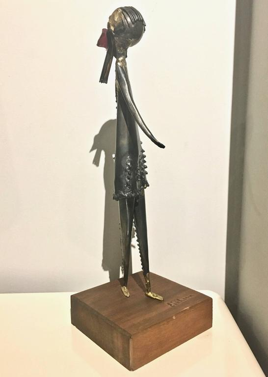 Mid Century Sculpture Of Girl Signed By Artist Harold
