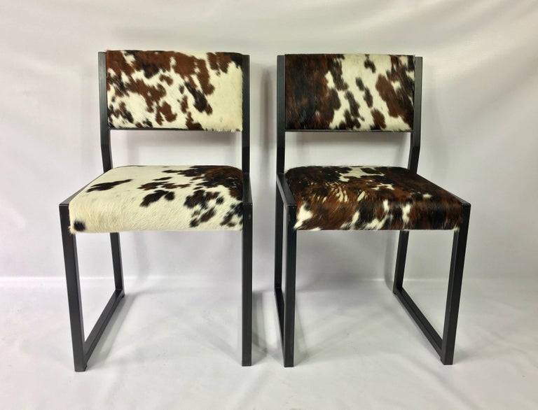 Set of Four Pony Skin Dining Chairs, Blackened Steel Frames by Uhuru Design In Good Condition For Sale In Stamford, CT