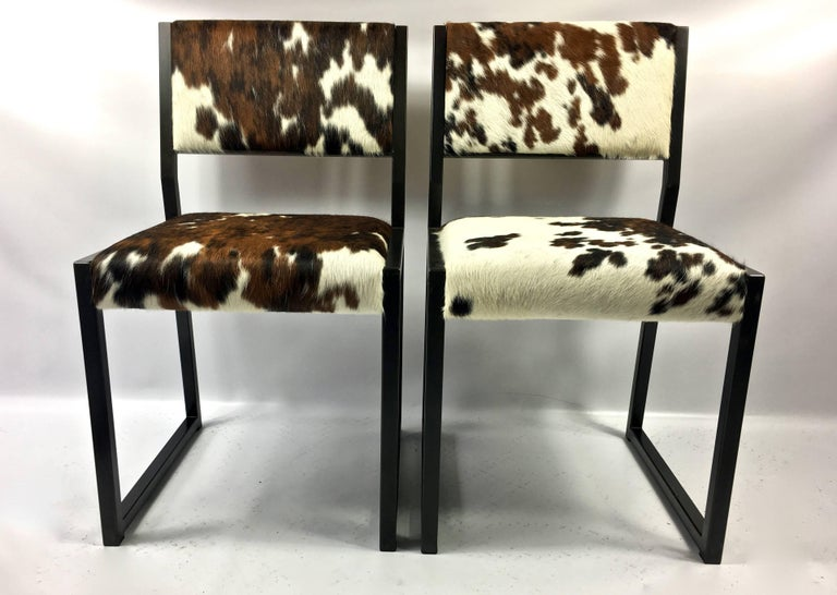 Contemporary Set of Four Pony Skin Dining Chairs, Blackened Steel Frames by Uhuru Design For Sale