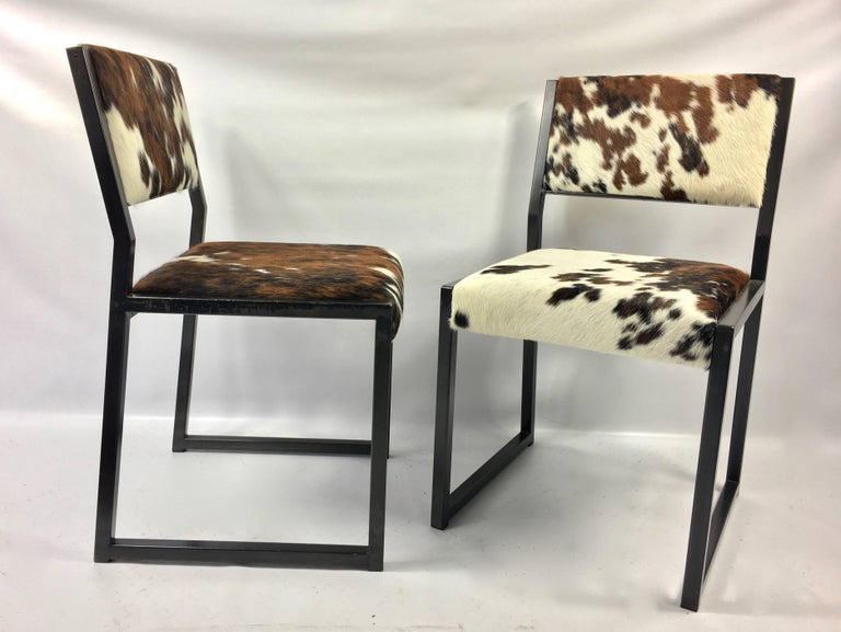 Set of Four Pony Skin Dining Chairs, Blackened Steel Frames by Uhuru Design For Sale 1
