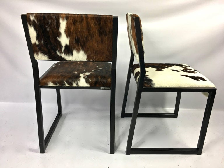 Set of Four Pony Skin Dining Chairs, Blackened Steel Frames by Uhuru Design For Sale 2
