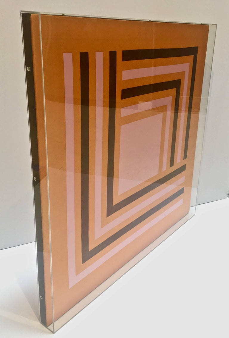 Modernist Abstract Vintage Silk Scarf, Manner of Josef Albers, Lucite Box Frame In Excellent Condition For Sale In Stamford, CT
