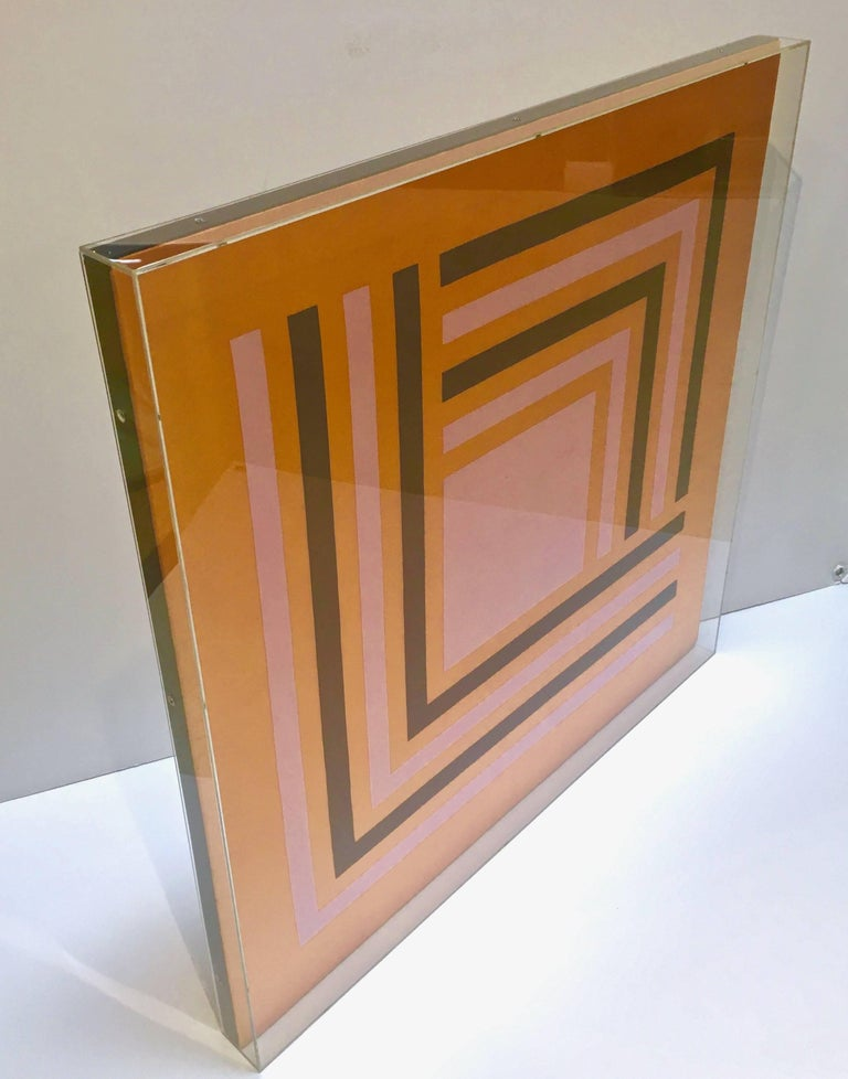 Mid-Century Modern Modernist Abstract Vintage Silk Scarf, Manner of Josef Albers, Lucite Box Frame For Sale