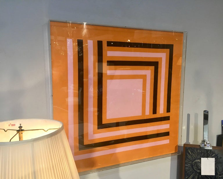 Unknown Modernist Abstract Vintage Silk Scarf, Manner of Josef Albers, Lucite Box Frame For Sale