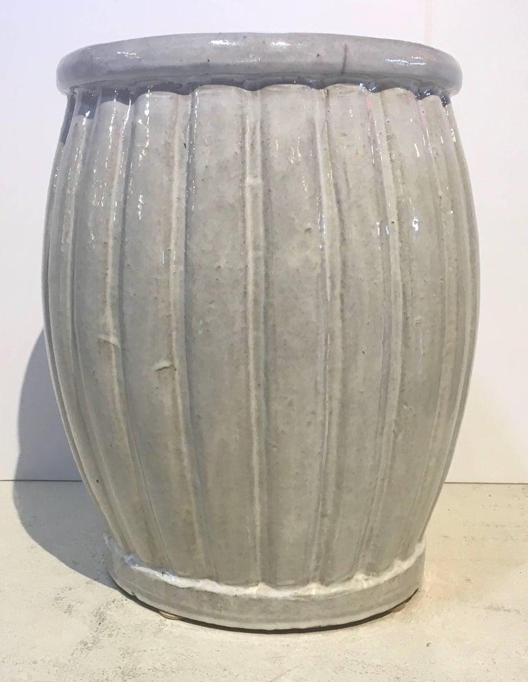 Pair Of Large Ceramic Garden Seats Hand Thrown Gray Blue