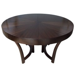 Round Widdicomb Walnut Extension Table, Designed by Robsjohn-Gibbings