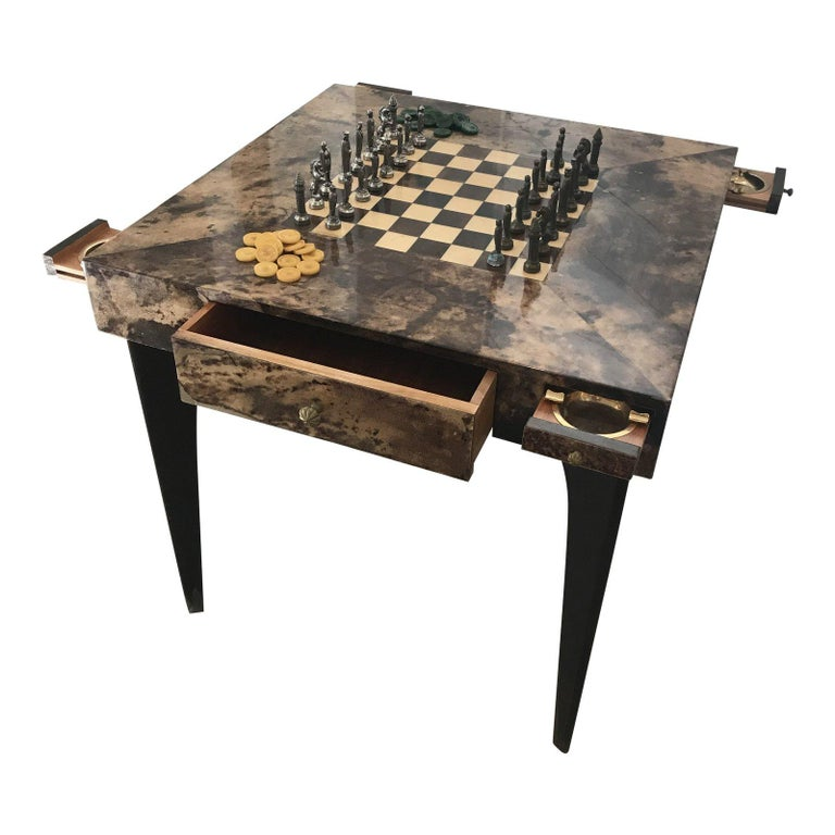 Aldo Tura, Lacquered Goatskin Game Table, Original Game Pieces Included