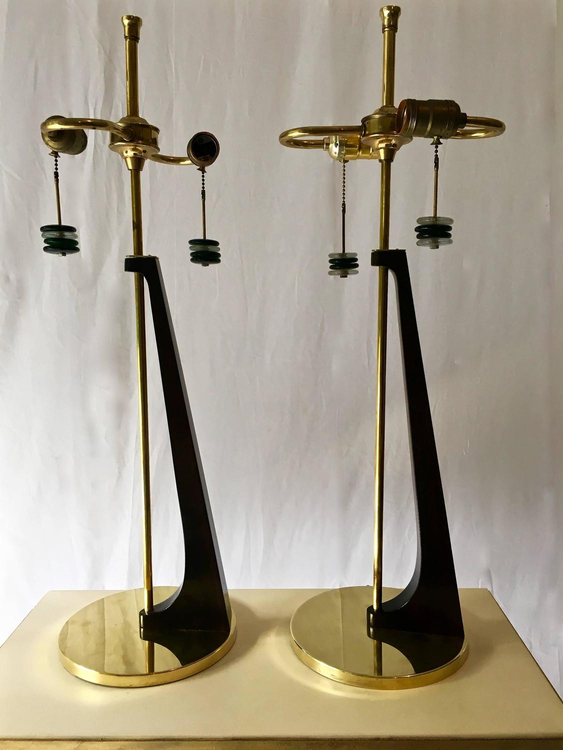 mid century modern table lamps in sculptural wood form circa 1950 at