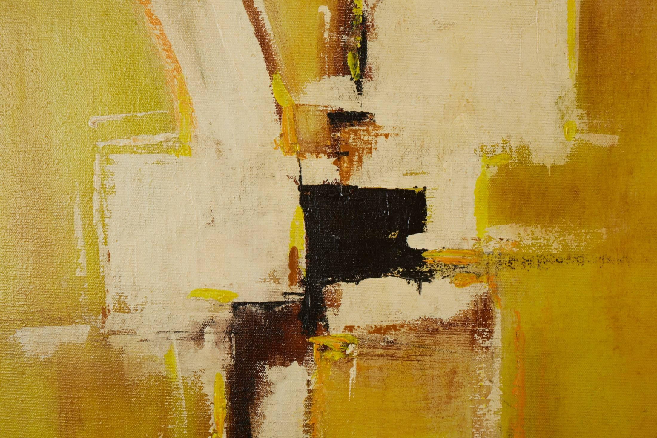 Mid-Century Abstract Modern Painting, Signed by Artist For Sale at ...