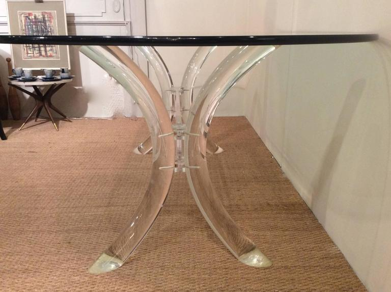 lucite dining table with oval glass top by charles hollis jones at