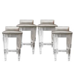 Incredible Lucite Bar Stools, Set of Four with Silk Upholstery