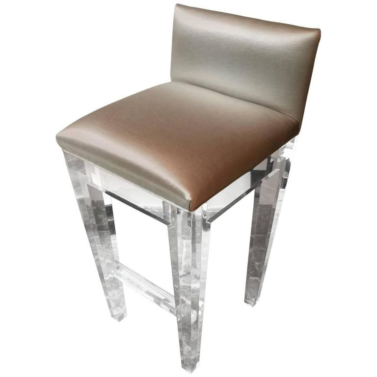 Incredible Lucite Bar Stools Set Of Four With Silk