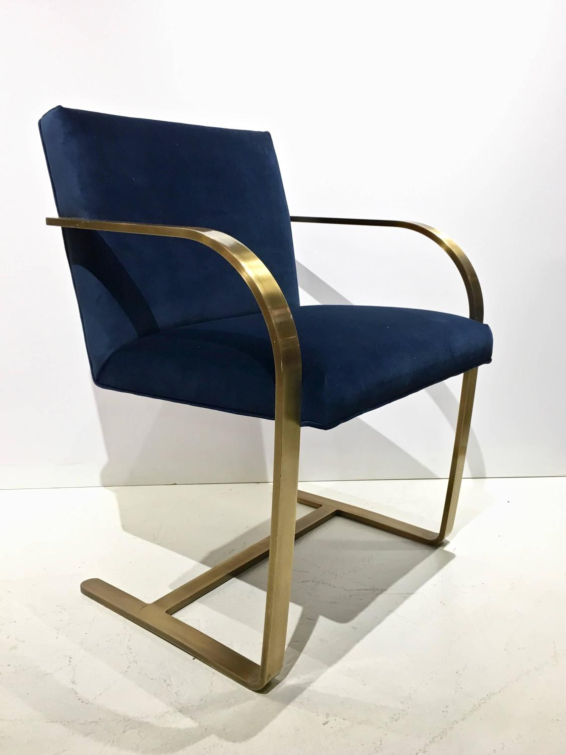 Brno flat bar style cantilevered chairs bronze finish for Reupholstered chairs for sale