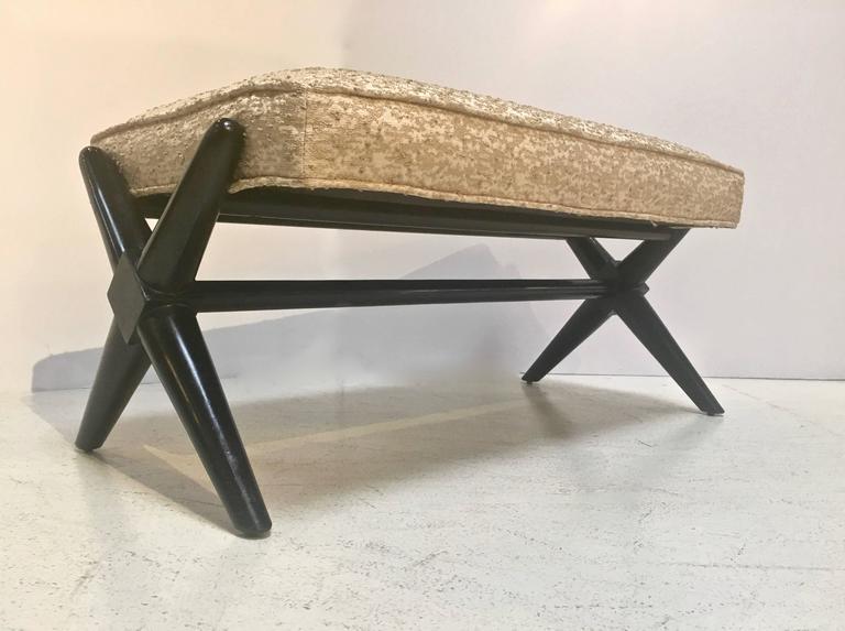 Ebonized X-Base Trestle Bench, by T.H. Robsjohn-Gibbings for Widdicomb For Sale