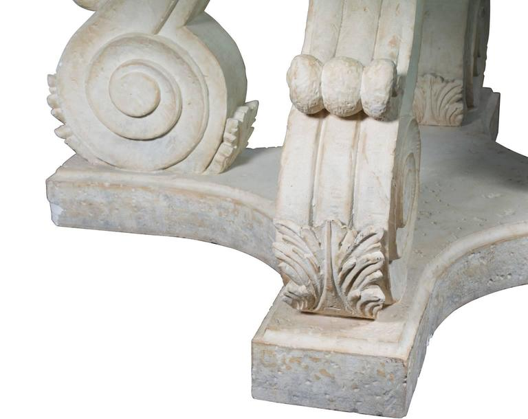 Carved Stone Glass : Steve chase round crackled glass top table with carved