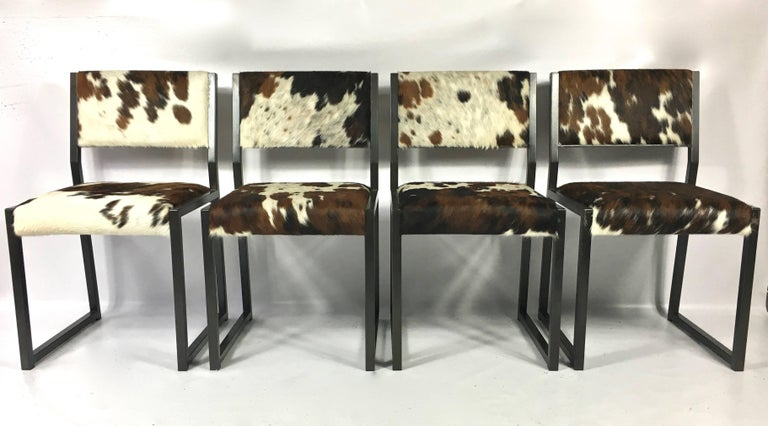 American Set of Four Pony Skin Dining Chairs, Blackened Steel Frames by Uhuru Design For Sale