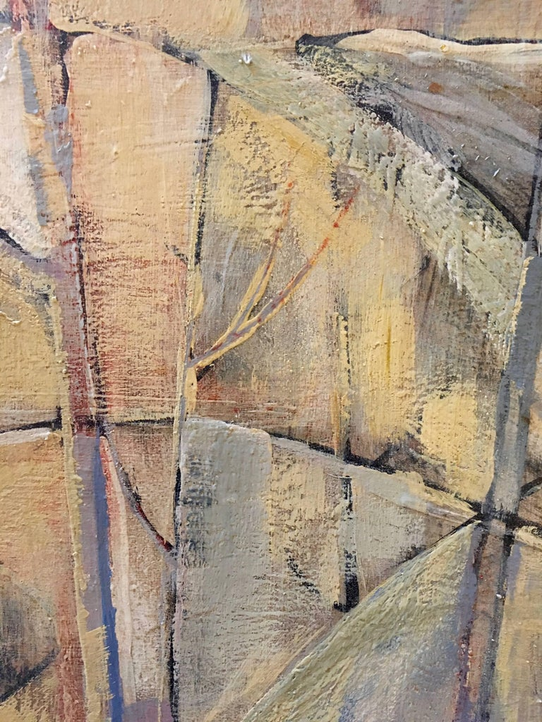 Mid-Century Modern Abstract Oil Painting, Floating Wood Frame In Excellent Condition For Sale In Stamford, CT