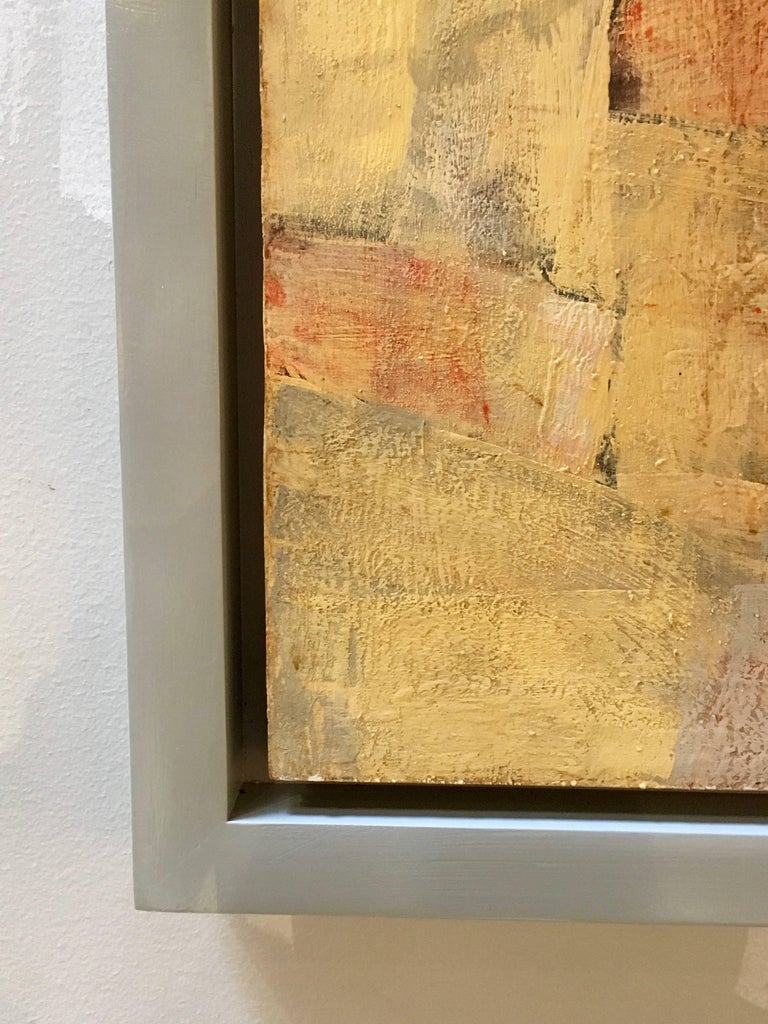 Mid-20th Century Mid-Century Modern Abstract Oil Painting, Floating Wood Frame For Sale