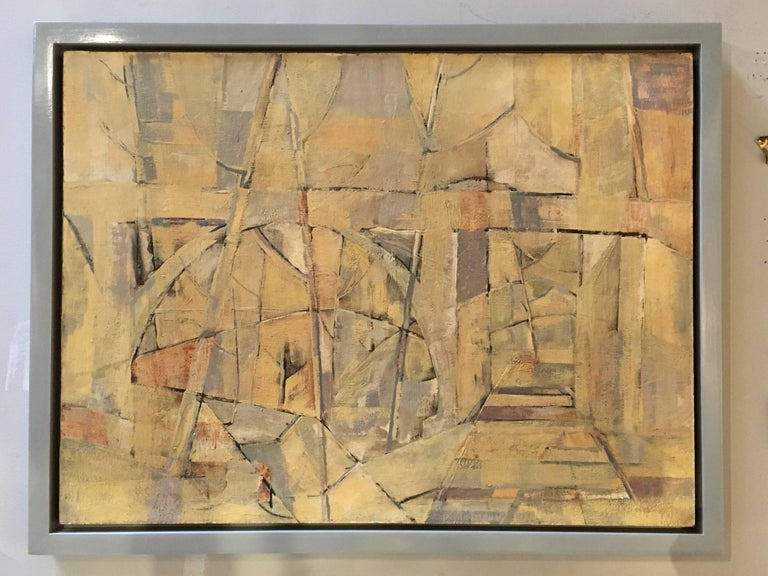 Mid-Century Modern Abstract Oil Painting, Floating Wood Frame For Sale 2