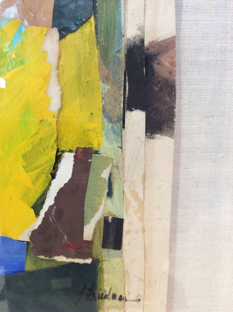 Mix-Media Abstract Collage Painting on Paper, Signed by Artist J ...